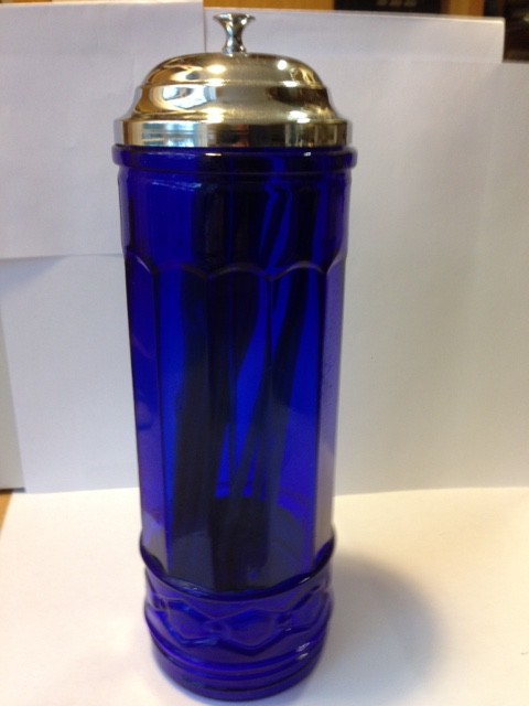Cobalt Blue Glass Straw Holder