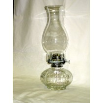 Clear Glass Ribbed Base Oil Lamp