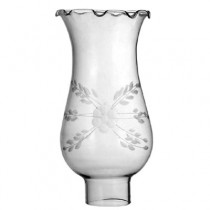 """Clear Glass Hurricane with Crimped Top - 1 5/8"""" Fitter; 6 3/4"""" High"""