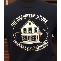 Brewster Store Logo T-Shirt-Navy With Flag
